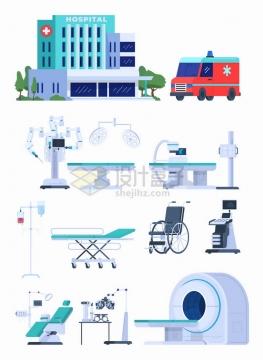 医院大楼救护车病床无影灯手术台CT机轮椅等医疗设备png图片素材