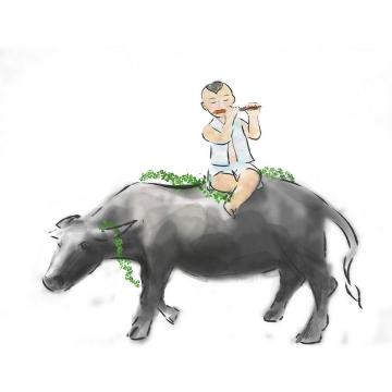 彩色手绘风格骑在牛背上的放牛娃农村生活图片免抠素材