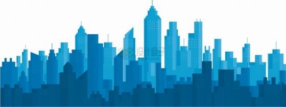 深蓝色的高楼大厦城市建筑天际线层叠剪影png图片素材