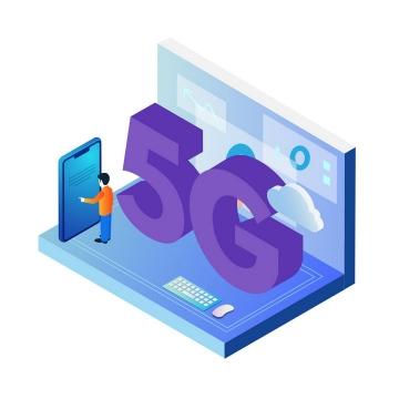 2.5D立体风格笔记本电脑和手机的5G通信技术应用图片免抠png素材