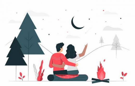 扁平插画风格野营生起篝火看月亮和星星的情侣png图片免抠矢量素材