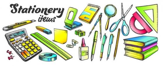 各种手绘风格计算器美工刀直尺圆珠笔圆规剪刀等学习用品图片免抠矢量素材