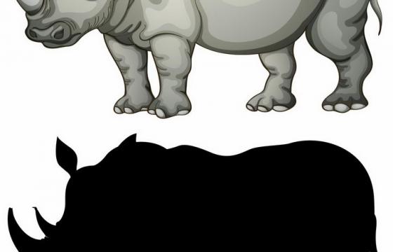 犀牛非洲野生动物剪影png图片免抠矢量素材