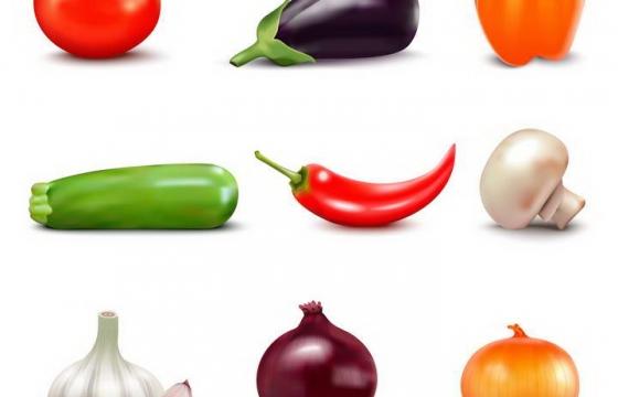 西红柿茄子灯笼椒黄瓜辣椒蘑菇蒜头洋葱等蔬菜图片免扣素材