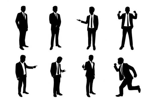 8款黑色打领带穿西服商务人士剪影免扣图片素材