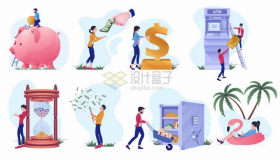 小猪储蓄罐ATM取款机保险柜等银行金融业务png图片素材