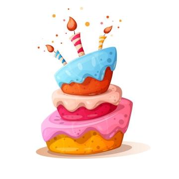卡通漫画风格多层点蜡烛的生日蛋糕图片免抠素材