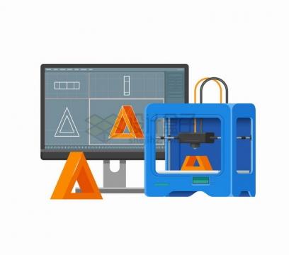 电脑显示器连接3D打印机正在打印东西png图片免抠矢量素材