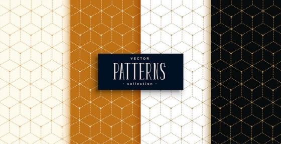 4款虚线立方体花纹装饰背景图片