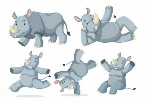 5款玩耍的卡通犀牛非洲野生动物png图片免抠矢量素材