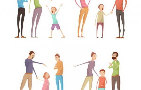 四款漫画风格正在吵架的爸爸妈妈和孩子一家三口图片免抠素材