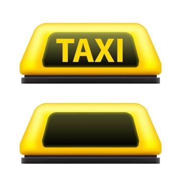 黄色出租车顶灯TAXI灯图片免抠矢量图