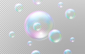彩色半透明气泡肥皂泡图片免抠素材