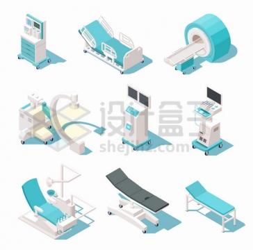 病床CT机治疗仪等9款医院医疗设备png图片素材