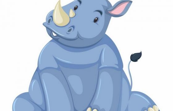 坐在地上的卡通犀牛非洲野生动物png图片免抠矢量素材