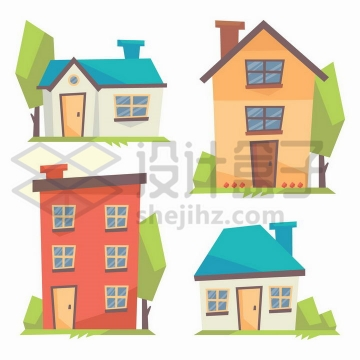 4款卡通风格房屋和楼房png图片免抠矢量素材