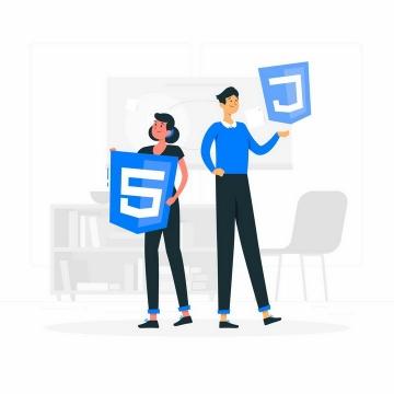 扁平插画风格拿着HTML5图标等网络技术的程序员png图片免抠矢量素材