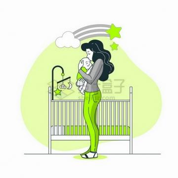 卡通年轻妈妈抱着孩子母亲节线条插画png图片免抠矢量素材