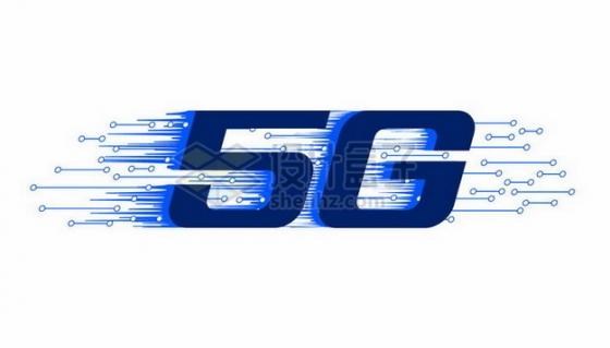 深蓝色5G通信技术电路标志png图片素材