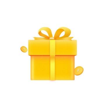 金色包装的礼盒和金币图片免抠素材