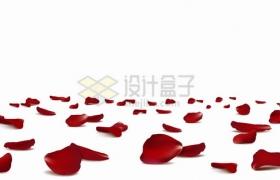 散落一地的红色玫瑰花花瓣png图片素材