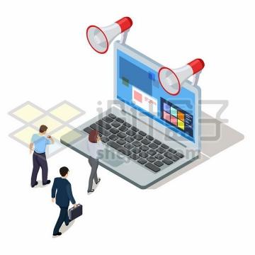 笔记本电脑上的两个大喇叭和上班的商务人士png图片免抠矢量素材