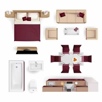 俯视视角床沙发床头柜电视柜餐桌浴缸洗手池电脑桌等家具平面图png图片免抠矢量素材