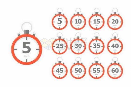 红色倒计时每隔5分钟时间png图片免抠矢量素材