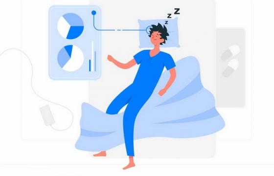 扁平插画风格躺在床上睡觉监测身体健康的APP png图片免抠矢量素材