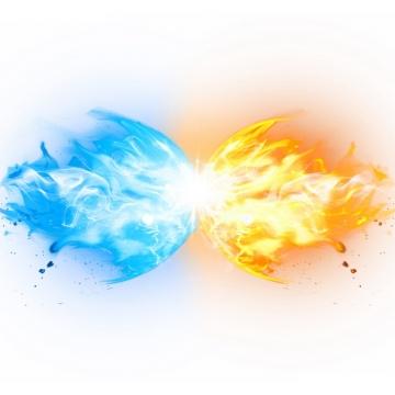 冰火两重天爆炸的蓝色和黄色火焰效果448471png图片素材