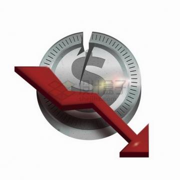 破裂的印有美元符号的金币和下降的红色箭头金融危机经济危机png图片免抠矢量素材