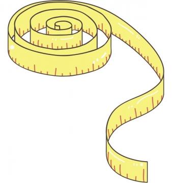 手绘风格黄色的卷尺图片png免抠素材