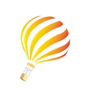 手绘简约橙色白色热气球图片免抠素材