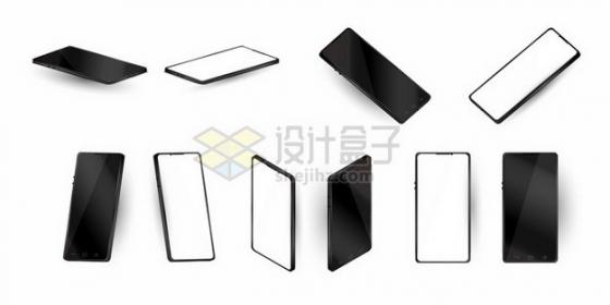 各种角度的黑白色全面屏手机809121png矢量图片素材