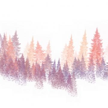 下大雪的针叶林森林树林松树雪松水彩插画786079png图片素材