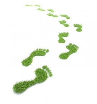 抽象绿色草地组成的脚丫脚印图案图片png免抠素材