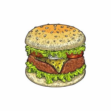 汉堡包美味西餐美食彩色手绘素描插画png图片免抠矢量素材