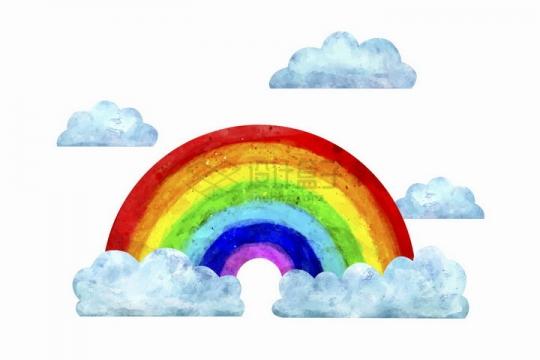 淡蓝色卡通云朵和七彩虹水彩画插画png图片免抠矢量素材