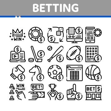 MBE断点黑色线条风格赌博图标图片免抠矢量素材
