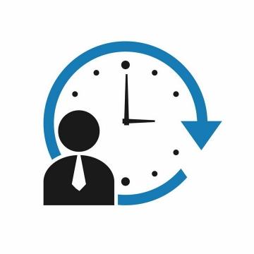 蓝色时钟24小时服务保证标志png图片免抠矢量素材