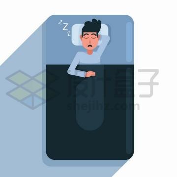 扁平插画风格正在睡觉打呼的卡通男人png图片免抠矢量素材