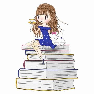 卡通女孩和猫咪坐在高高的书堆上png图片素材