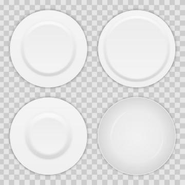 四种不同的盘子俯视图餐具图片免抠矢量图