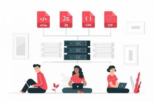 扁平插画风格盘坐在地上的程序员云服务上显示的html/JS/CSS等网页技术png图片免抠矢量素材