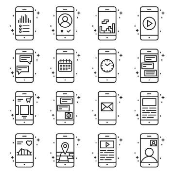 16款黑色线条MBE风格手机UI界面设计免扣图片素材
