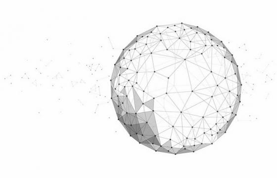 点线三角形组成的装饰圆球图案png图片免抠矢量素材