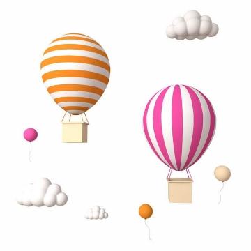 立体风格两个条纹热气球和白云图片免抠素材