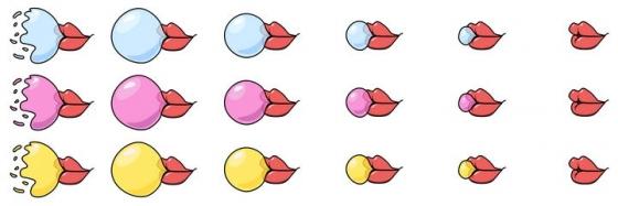 手绘风格红色嘴唇吐泡泡糖口香糖过程图片免抠素材