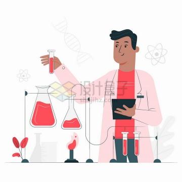 正在做实验的科学家扁平插画png图片免抠矢量素材