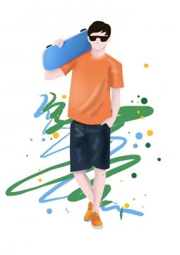 彩绘风格手插在裤袋中的酷帅的男孩扛着滑板png图片免抠素材